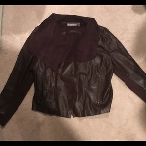 Faux leather jacket ( burgundy brown color)
